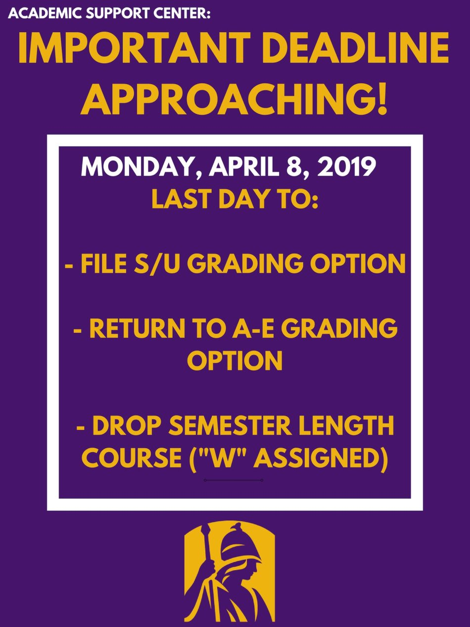 April 8 is the Last day to Withdraw or S/U from a Semester Length Course