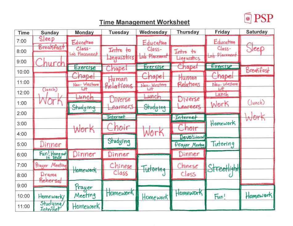 ATLAS Time Management Worksheet