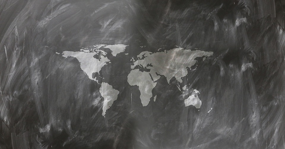 Image of a Blackboard with a map of the world