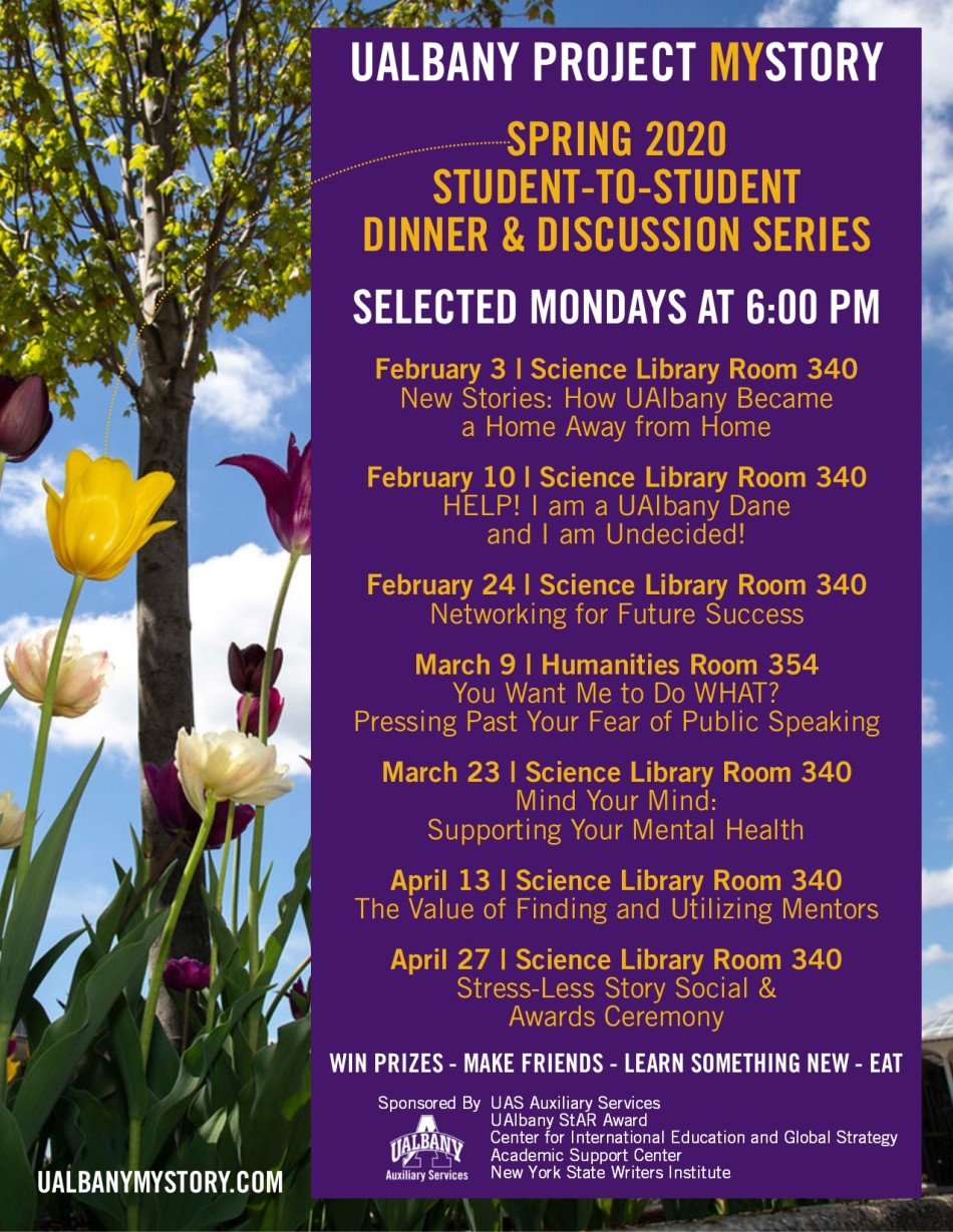 2020 Spring UAlbany Project MyStory Student-to-Student Series Flyer