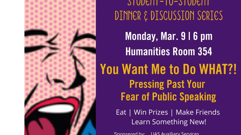 Dinner and Discussion Flyer for March 9