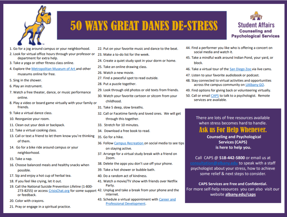 UAlbany CAPS 50 Ways to De-Stress
